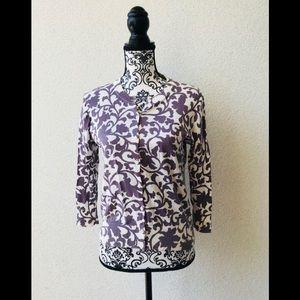🎉 J.Crew 💯 cotton flower purple cardigan M
